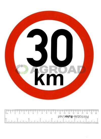 Samolepka: 30 km - konstrukční rychlost, nejvyšší povolená rychlost