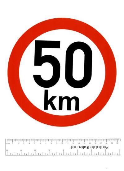 Samolepka: 50 km - konstrukční rychlost, nejvyšší povolená rychlost