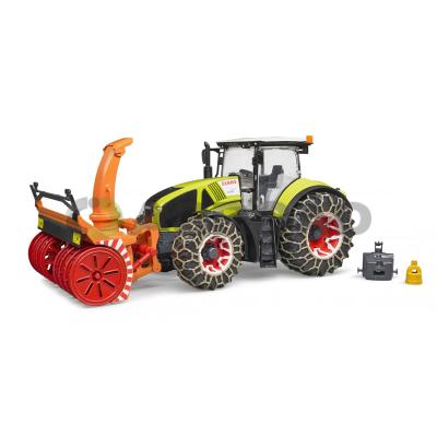 Bruder Claas Axion 950 Traktor se sněhovými řetězy s frézou