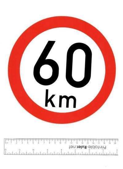 Samolepka: 60 km - konstrukční rychlost, nejvyšší povolená rychlost