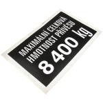 Nápis Hmotnost přívěsu 8.400 kg