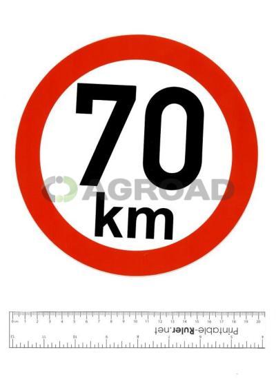 Samolepka: 70 km - konstrukční rychlost, nejvyšší povolená rychlost