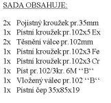 "CZPK Sada úplného válce pr.102/3kr.""B"" 6MOD motor 7701 bílá krabice"