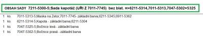 Sada kapotáž (UŘI Z 7011-7745)  bez blat. =>6211-5314,7011-5313,7047-5302+5325