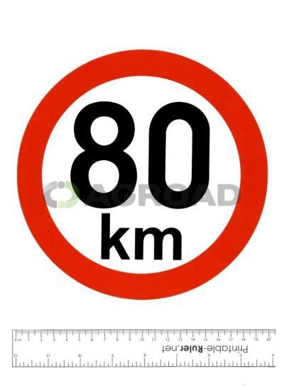 Samolepka: 80 km - konstrukční rychlost, nejvyšší povolená rychlost