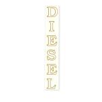 Nápis DIESEL  - bílý - zlatá kontura